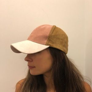 Faux suede multi-colored baseball hat.